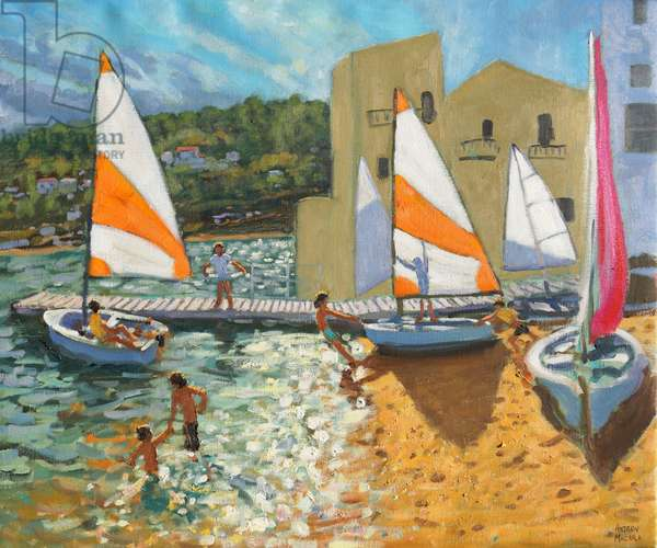 Launching boats,Calella de Palafrugell,Spain,(oil on canvas)
