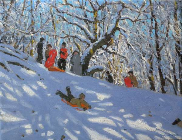 Sledging in Allestree Woods, 2011 (oil on canvas)