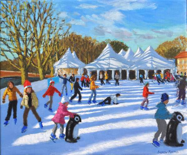Bright morning,Hampton Court Palace Ice Rink,London, 2018, (oil on canvas)