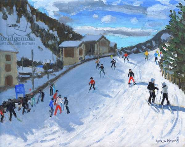 Skiing down to Selva Val Gardena,2016,(oil on canvas)