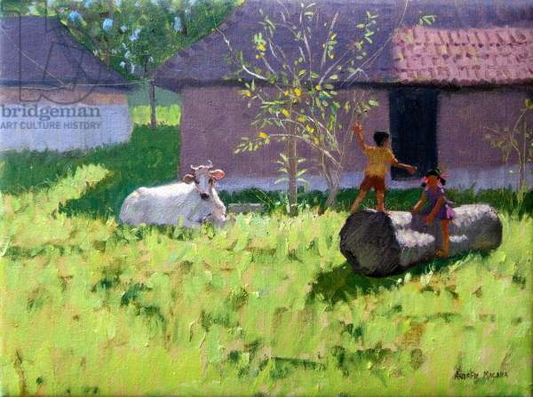 WHITE COW AND TWO CHILDREN,MANKOTTA  ISLAND,KERALA,INDIA(oil on canvas)