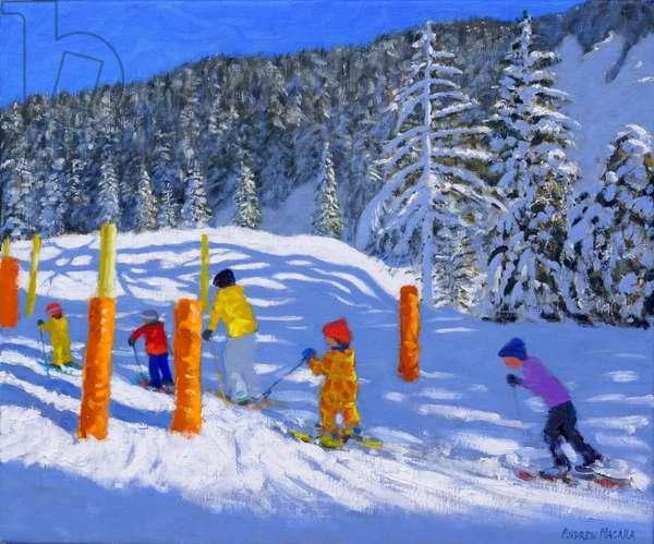 Colourful Skiing,Les Arcs,France, 2018,(oil on a canvas)