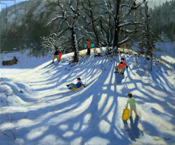 Fun in the snow, Morzine, France (oil on canvas)