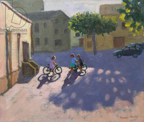 Three children with bicycles, Spain (oil on canvas)