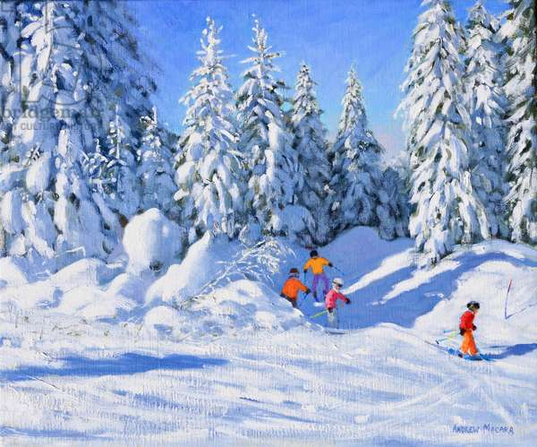 Bright morning and snow covered trees,Morzine (oil on canvas)