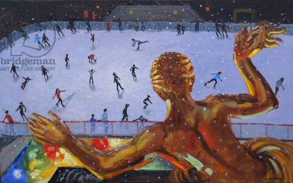 Prometheus ,Rockefeller Ice Rink,New York. 2018 (oil on canvas)
