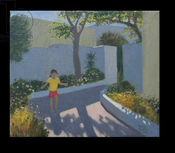 Girl Skipping, Santorini, 2002 (oil on canvas)