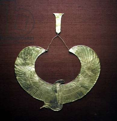 Cobra Collar, from the tomb of Tutankhamun (c.1370-1352 BC) New Kingdom (gold)