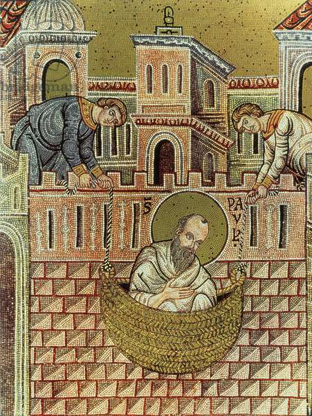 St. Paul escapes Damascus in a basket, 12th-13th century (mosaic)
