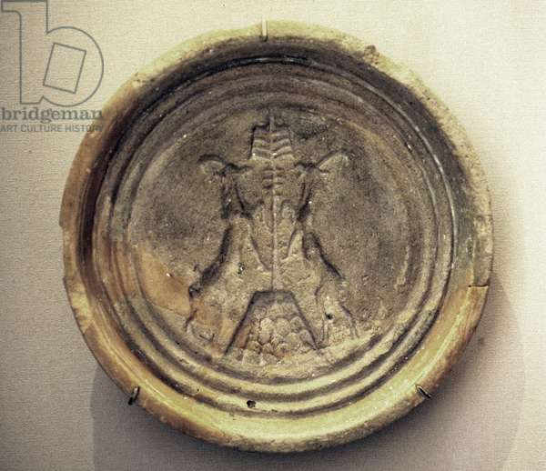Plate with ibex design from the Palace of Mari, 2000 BC (ceramic)