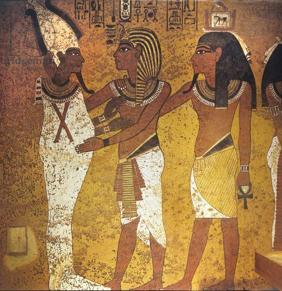 The king, with his ka, embracing Osiris, from the Tomb of Tutankhamun, New Kingdom (wall painting)