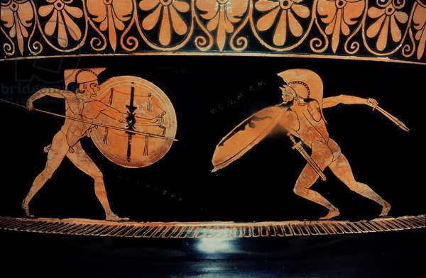 Combat of Achilles and Hector in the presence of Athena and Apollo, from a red-figure volute krater, found at Caere, c.490-460 BC (pottery)