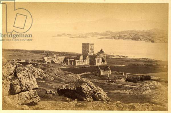 Iona Cathedral & St Orans Chapel, Isle of Iona, 1878 (b/w photo)