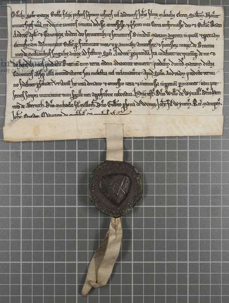 Pittance writ: Charter granting alms to the Church of St Andrew the Apostle, 1215 (ink on vellum with metal pendant)