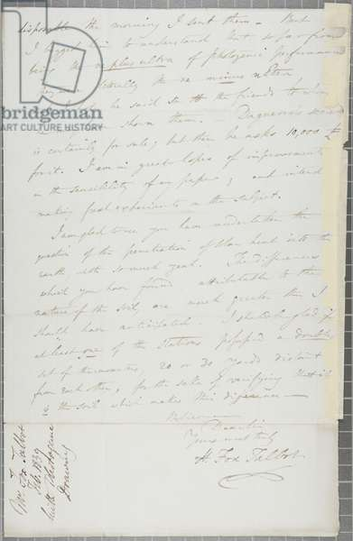 Signed letter from William Henry Fox Talbot to James David Forbes, 1839 (pen & ink on paper)