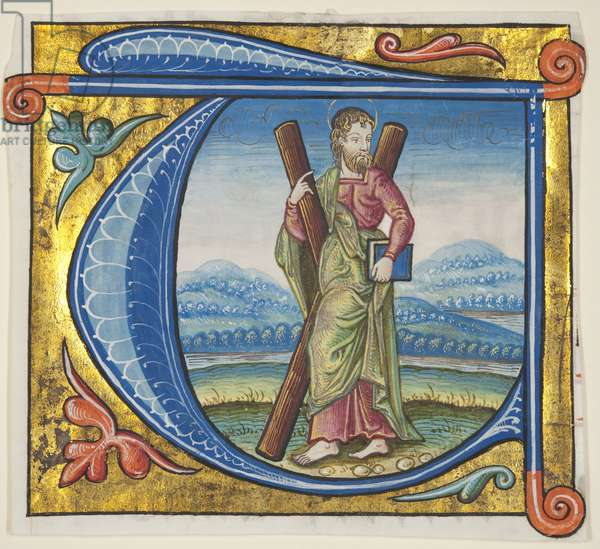 Historiated initial 'T' depicting St Andrew, excised from a missal, c.1500 (paint & gold on parchment)