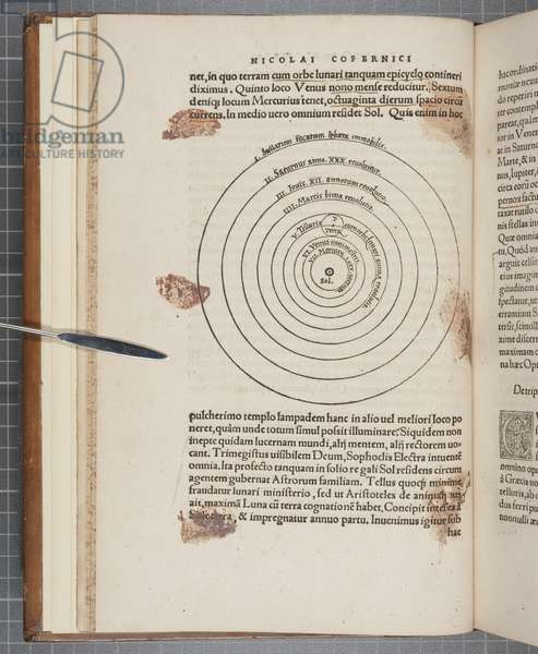Fol 9 verso, 'De revolutionibus orbium caelestium', by Nicolaus Copernicus (engraving)