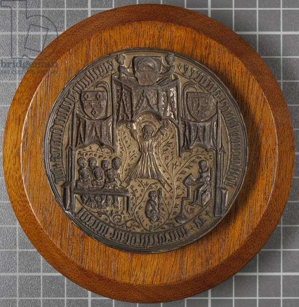Matrix of seal of University of St Andrews, 1414-18 (metal mounted on wood)