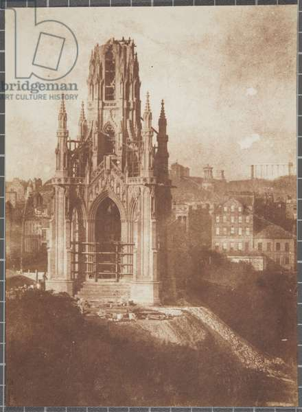 Scott Monument, Edinburgh, during construction, 1840-44 (salted paper print from calotype negative)