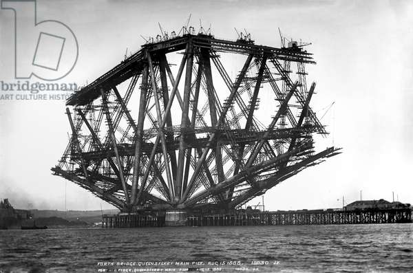 Forth Bridge, Queensferry Pier, August 15th 1888 (b/w photo)