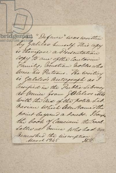 Note pasted on to the front board of 'Difesa', by Galileo, 1845 (pen and ink on paper)