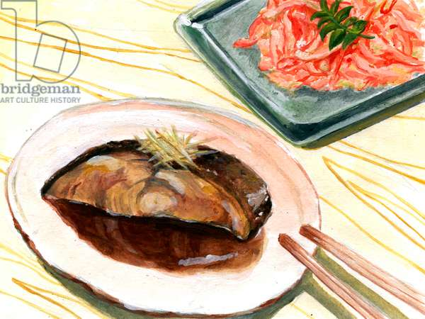 Boiled fish and tempura ,2015(Acrylic paint on paper)