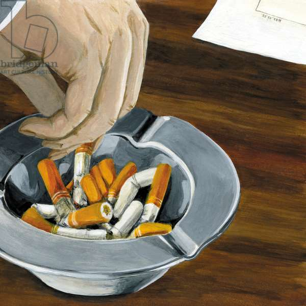 Tobacco and ashtray, 2013, (Acrylic paint on paper)