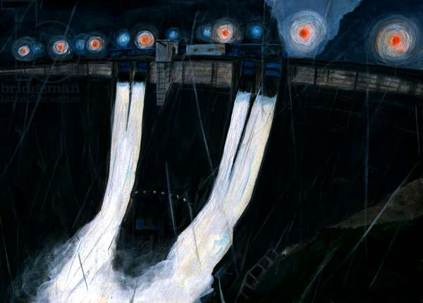 Dam in the night ,2016(Acrylic paint on paper)