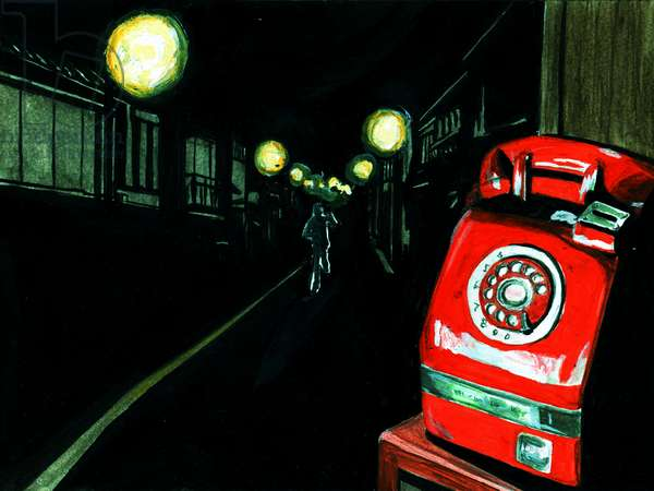 Old Public phone,2015(Acrylic paint on paper)