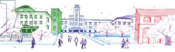 University campus, 2014, (Pen on paper)