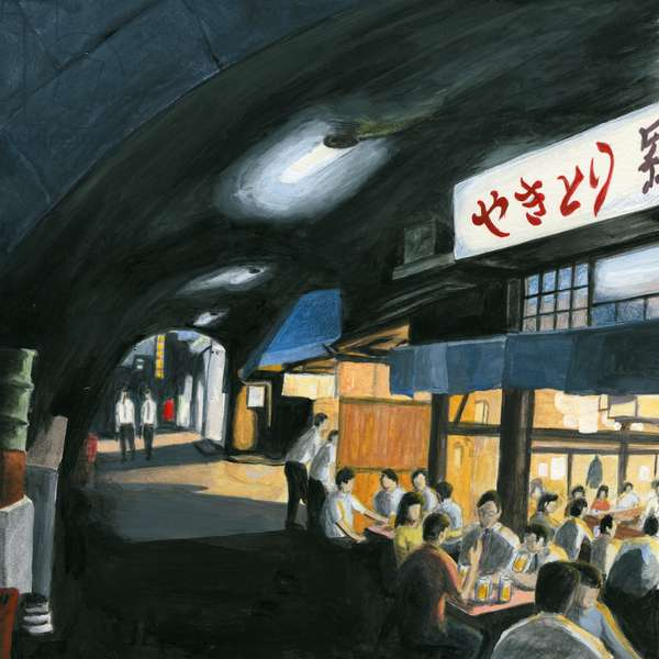 Bar at underpass ,2013(Acrylic paint on paper)