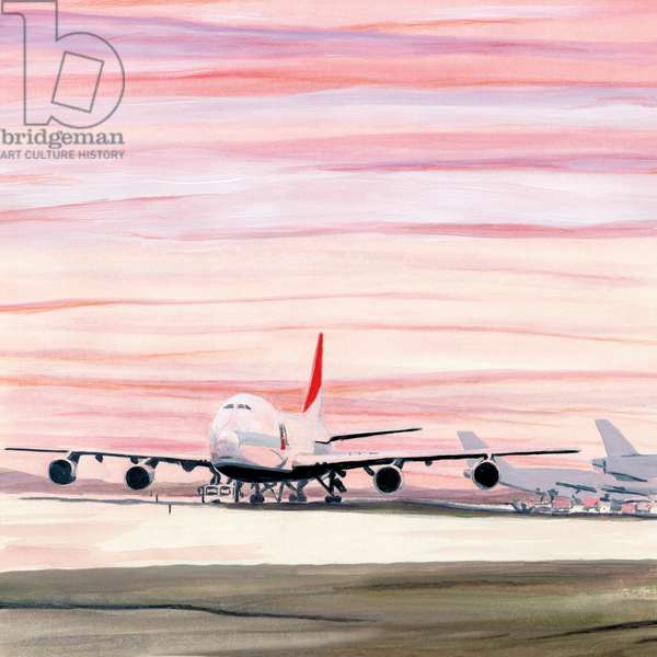 Airplane in sunset,2014(Acrylic paint on paper)