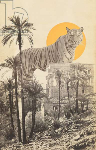 Giant Tiger in Ruins and Palms