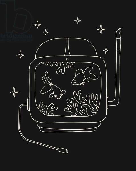 Astronaut Helmet in Water