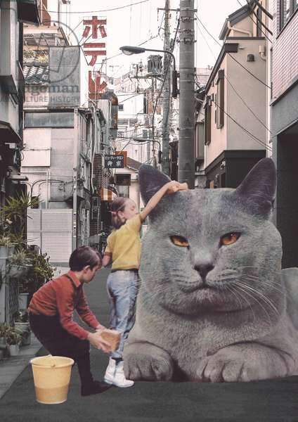 Children washing a giant Cat in Tokyo Streets