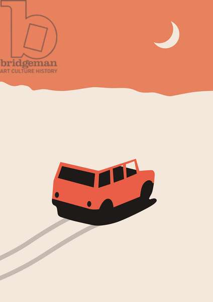 Red Car in Desert with moon