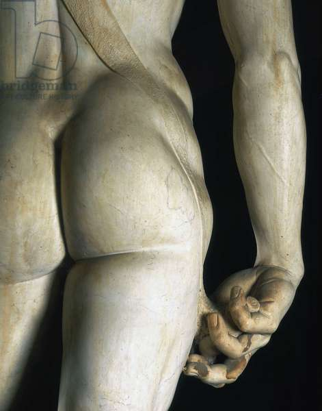 David seen from the back, detail (including that of the right hand). Renaissance sculpture by Michelangelo Buonarroti called Michel Ange (Michelangelo or Michelangelo, 1475-1564), 1501-1504. Galleria dell'Accademia, Florence.