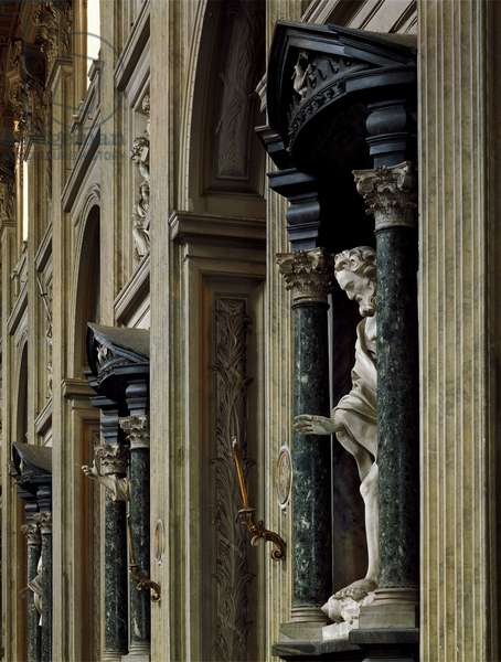Baroque Art: Edicule of the median nave of the Church of San Giovanni in Laterano in Rome. Architecture by Francesco Borromini (1599-1667), 1647-1650