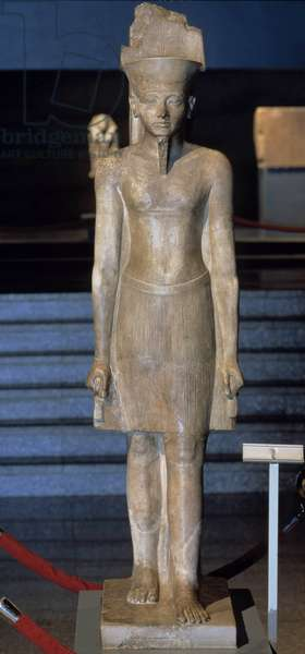 Antiquite Egyptian: limestone statue of the god Amon. 1347-1336 BC. 18th dynasty, New Empire. From Karnak. Museum of Egyptian Art Luxor (Luksor)