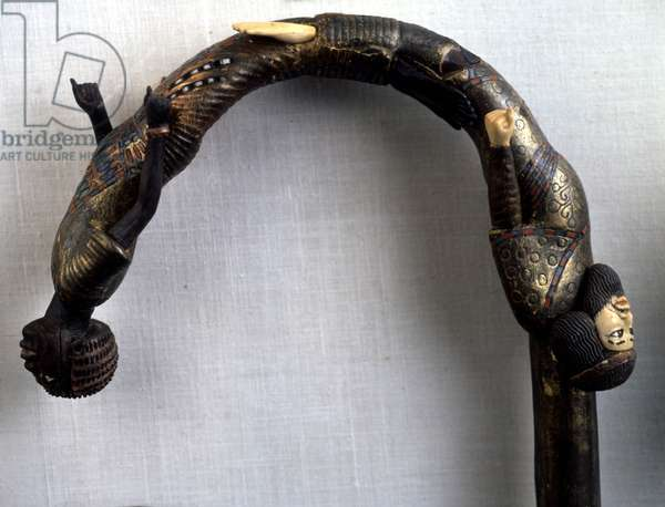 Cairo, Museum of Egypt. Tutankhamun's cane with two prisoners.