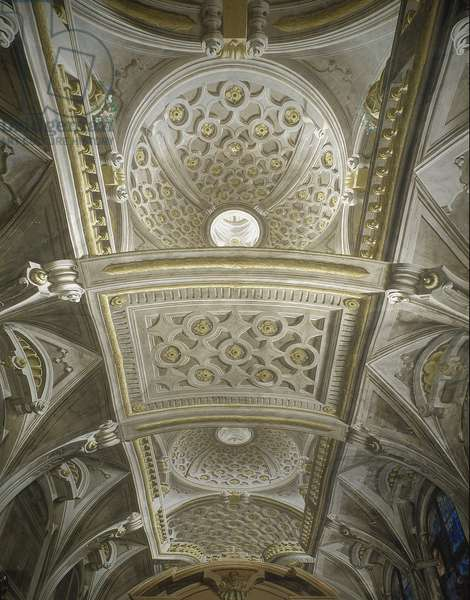 Baroque Art: Cathedrale of Cramona in Italy with vault of the sacristy in trompe l'oeil (trompe-l'oeil) Architecture by Ferdinando Galli da Bibiena (1657-1743)
