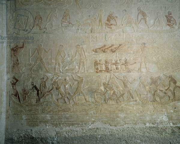 Egyptian antiquite: representation of a naval battle. Fresco of the walls of the mastaba of Ptahotep, senior official of the 5th dynasty. Necropolis of Saqqara (Sakkara) Egypt