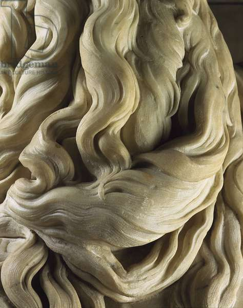 Detail of the beard of the Michelangelo Buonarroti called Michel Ange (Michelangelo or Michelangelo, 1475-1564). Mausoleum of Jules II. 1513, San Pietro in Vincoli, Rome.