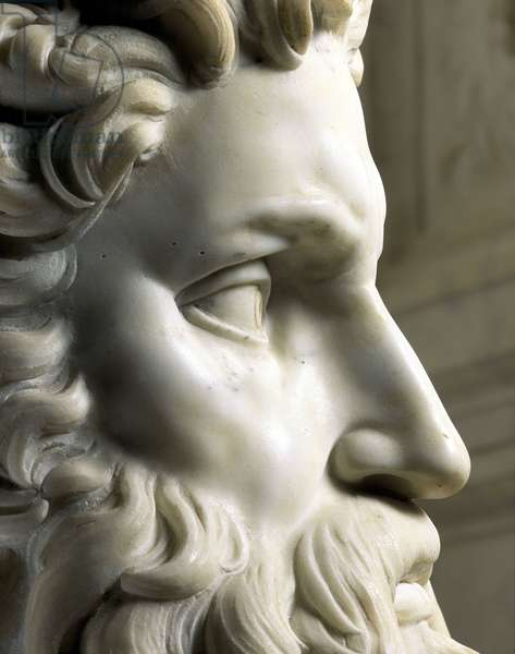 Mausoleum of Jules II. Detail of the face of Moses, 1513-1545. Sculpture of the Renaissance by Michelangelo Buonarroti called Michel Ange (Michelangelo or Michelangelo, 1475-1564). San Pietro in Vincoli, Rome.
