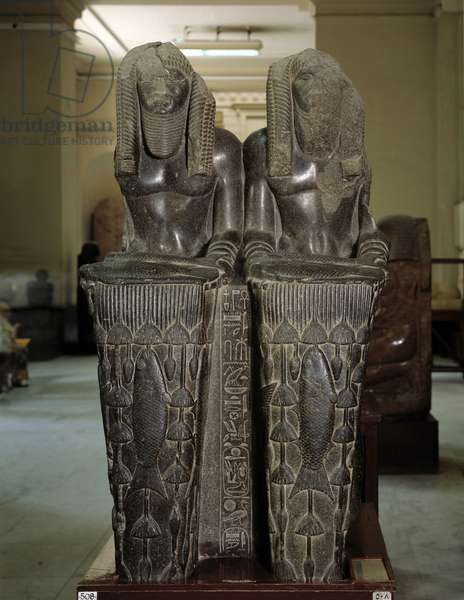 Cairo, Museum of Egypt: Double statue of Ammeres as god Nile, Tanis