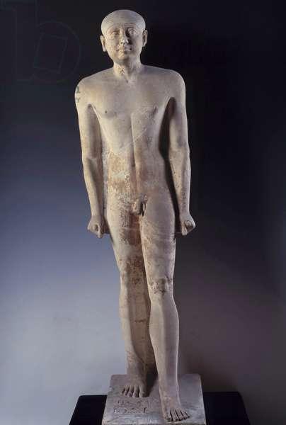 Antiquite Egyptian: painted limestone statue of naked man. From Sakkara (Saqqara). Museum of Egypt, Cairo.