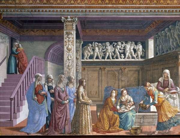 Birth of the Virgin Mary, 1485-90, Chapel Major or Tornabuoni, Chiesa Santa Maria Novella, Florence (fresco)