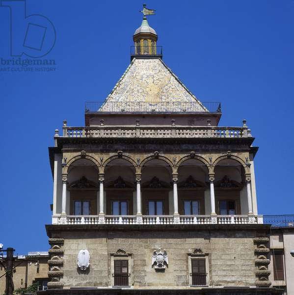 Dome and arrow of the Porta Nuova (New Gate) in Palermo. Architecture from 1583