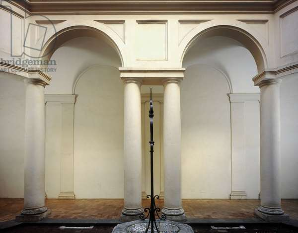 Baroque art: cloister of the Church of St. Charles at the Four Fountains (San Carlo alle Quattro Fontane) Rome. Architecture by Francesco Borromini (1599-1667), 1665-1667