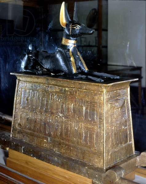 Golden box with the god Anubis from Thebes, Museum of Egypt in Cairo.